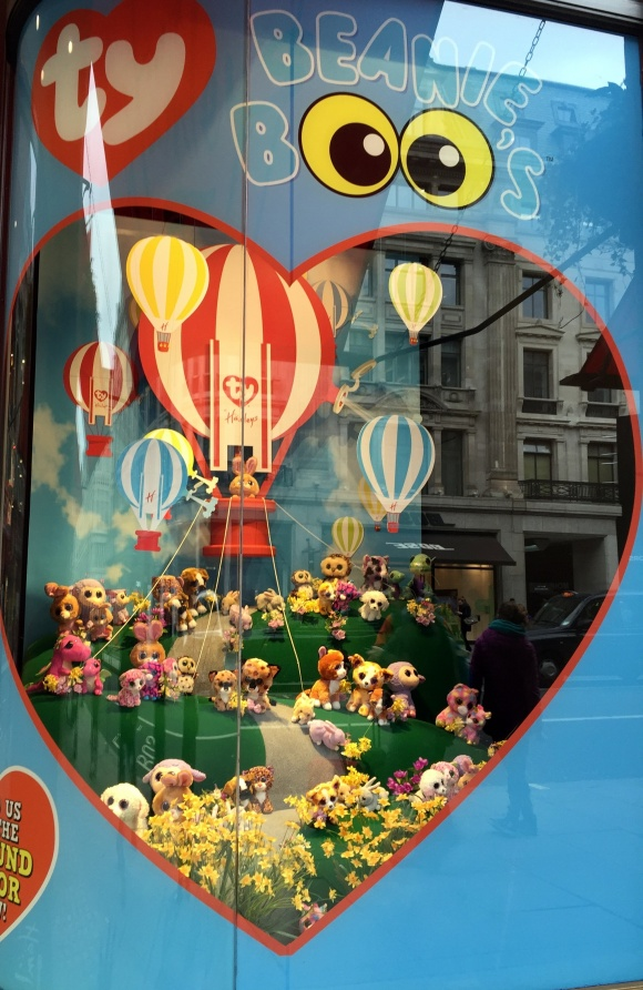 The daffodils in the window display at Beanie Boos adds another splash of color...