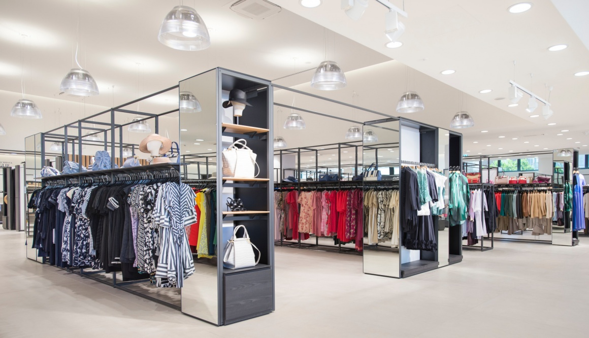 The interior of a modern fashion store