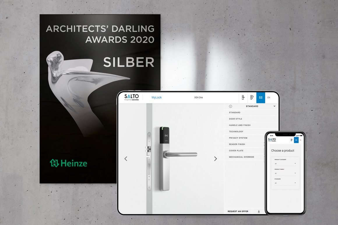 Illustration of an electric locking system and a poster of an award ceremony...
