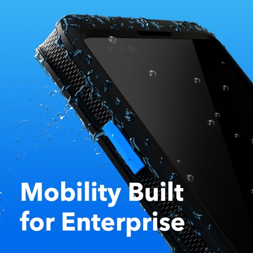 A picture of a handheld computer with the label Mobility Built for Enterprise...