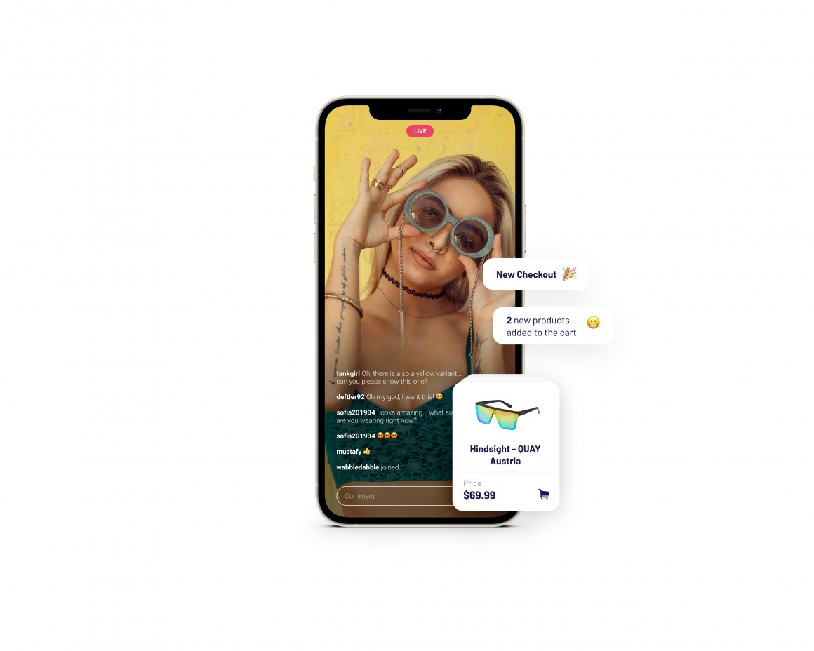 smartphone screen showing a woman wearing sunglasses...
